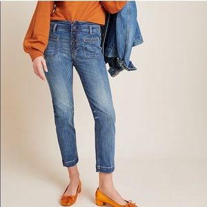 Pilcro High-Rise Button-Fly Slim Straight Jeans